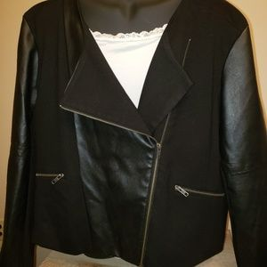 Maurices Black faux leather black jacket 2x